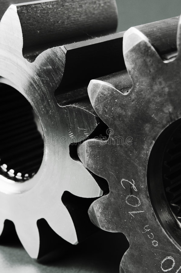 Cogs in black and white royalty free stock images