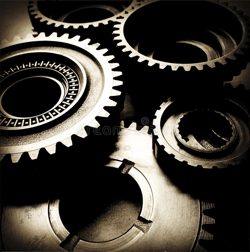 Cogs. Closeup of metal cog gears royalty free stock photography
