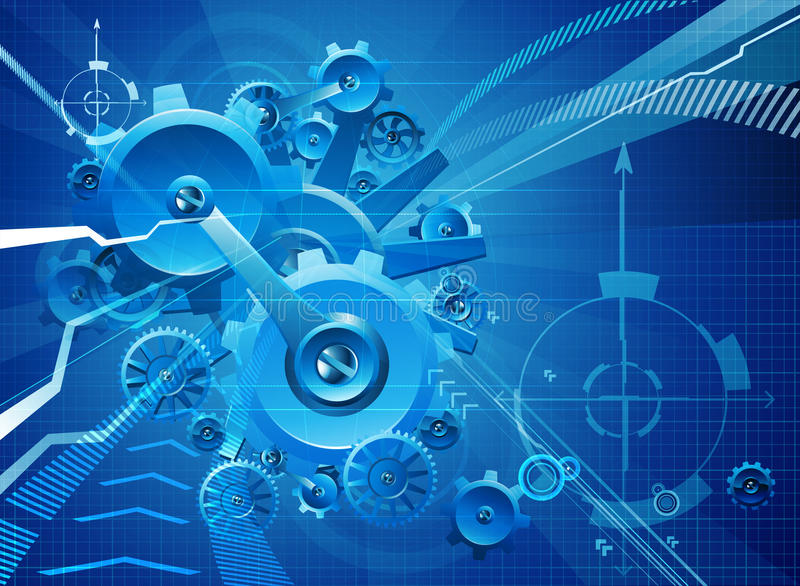 Cogs and Gears Blue Business Background stock illustration