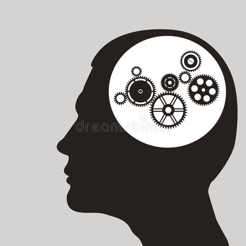 Cogs or gears in human head. royalty free illustration