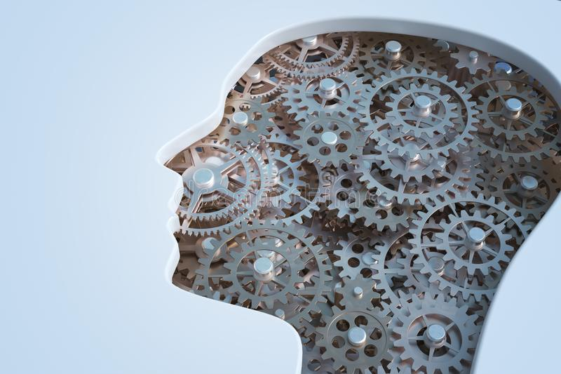 Cogs and gears inside human`s head. Intelligence and psychology concept. 3D rendered illustration. Cogs and gears inside human`s head. Intelligence and vector illustration