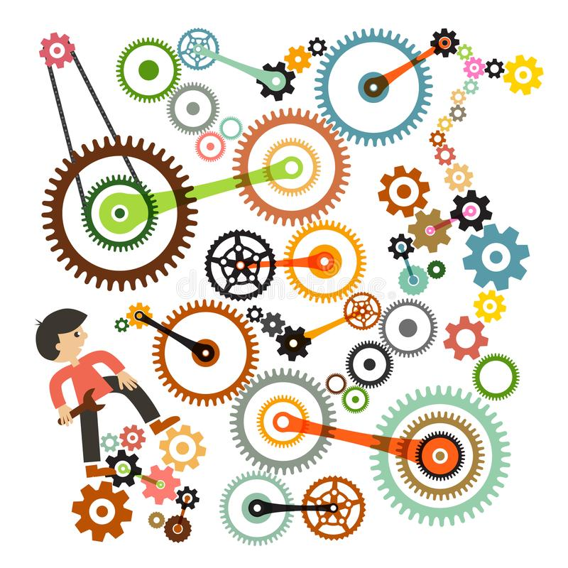 Download Cogs - Gears And Man. Vector. Stock Vector - Illustration of repair, person: 117816389