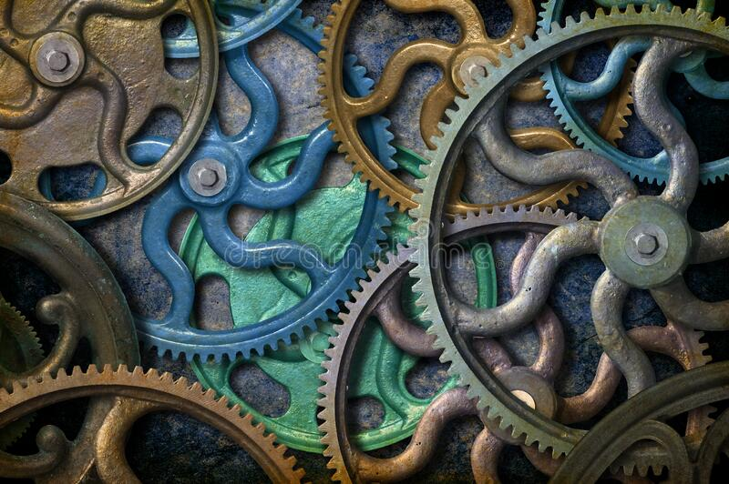 Cogs and Gears Steampunk Background stock photo