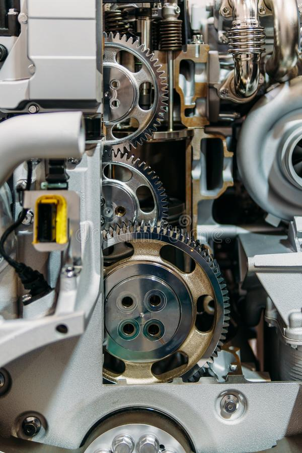 Cogs, Gears and Wheels Inside Truck Engine royalty free stock image
