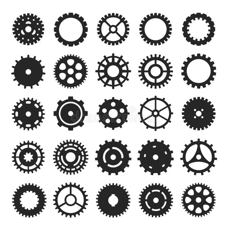 Cogs i przekładni ikony setu, mechanizmu lub maszynerii symbol, ilustracji