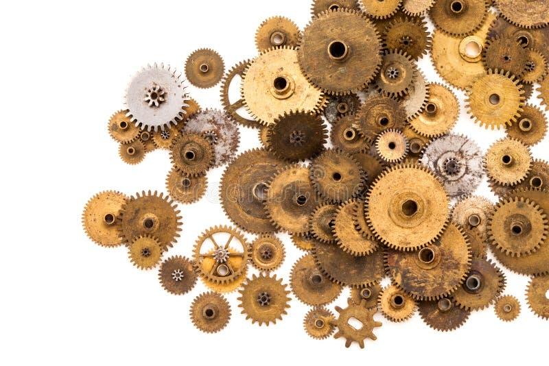 Cogs przekładni kół steampunk elementy na białym tle Rocznika clockwork rozdziela zbliżenie Abstrakcjonistyczny kształta przedmio obraz stock