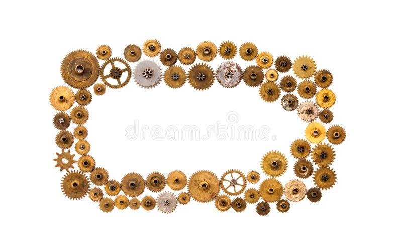 Cogs przekładni kół steampunk ornamentu rama na białym tle Rocznika clockwork rozdziela zbliżenie Abstrakcjonistyczny kształta pr obrazy royalty free