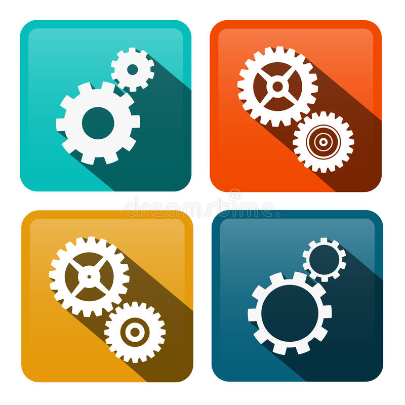 Cogs. Vector Gears Flat Design Icons stock illustration