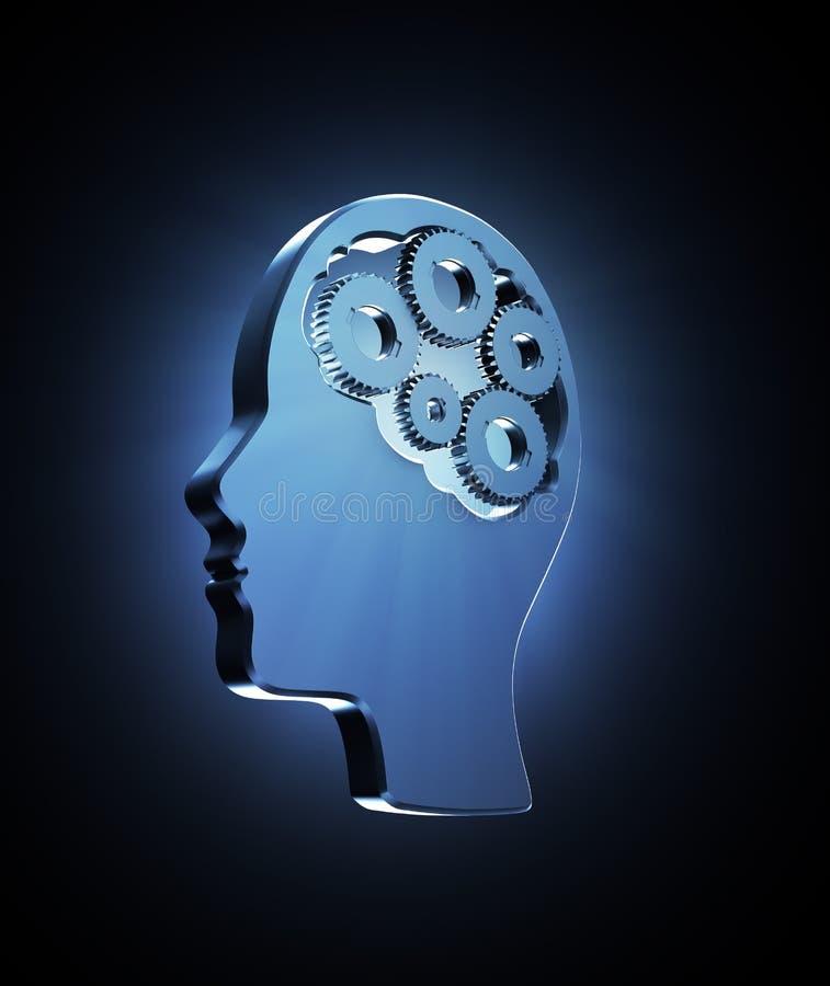 Cogs wśrodku ludzkiej głowy ilustracja wektor