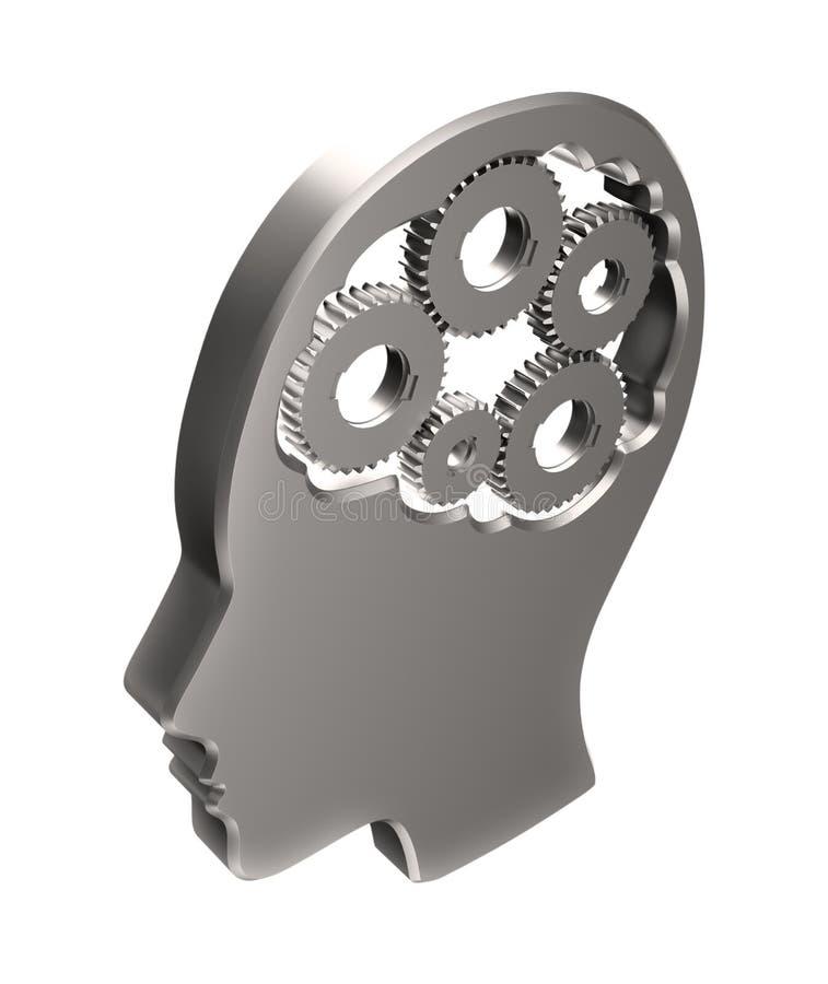 Cogs wśrodku ludzkiej głowy ilustracji