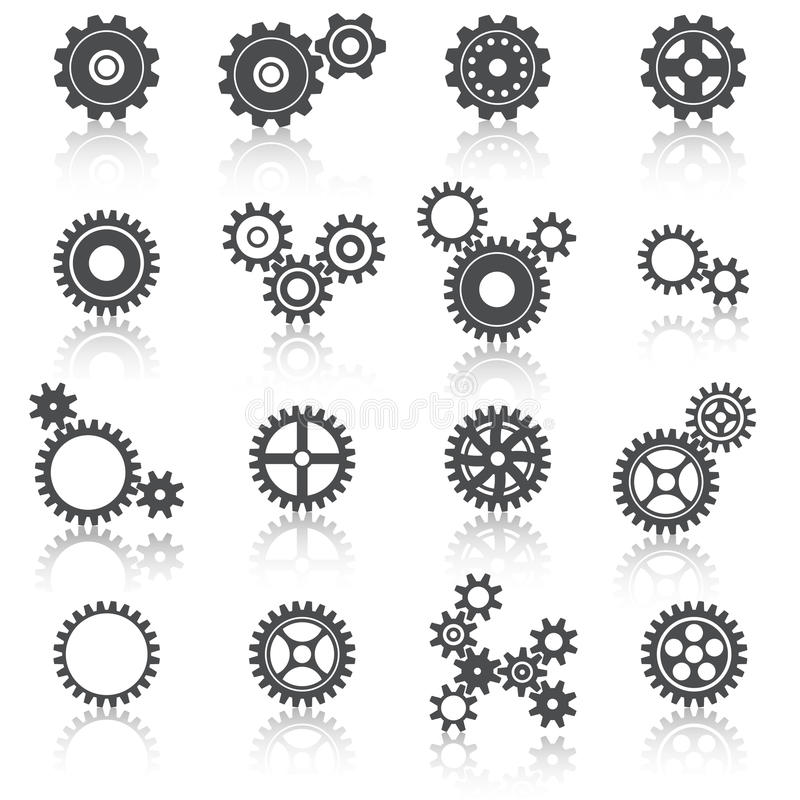 Free Cogs Wheels And Gears Icons Set Stock Photo - 38164540