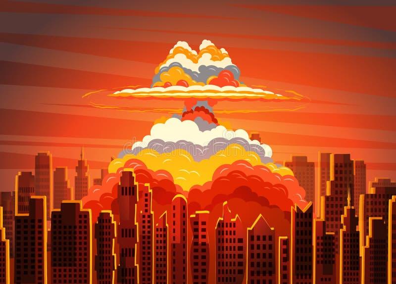 Cogumelo atômico brilhante radioativo de aumentação na cidade ilustração royalty free