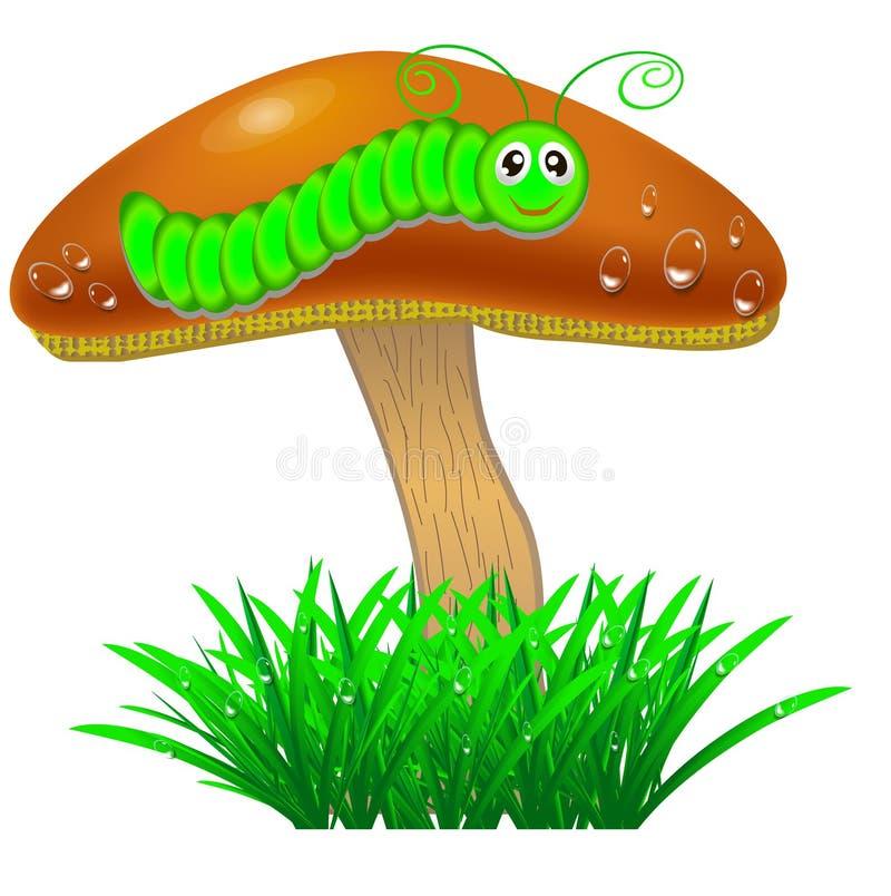 Cogumelo com uma lagarta na grama ilustração do vetor