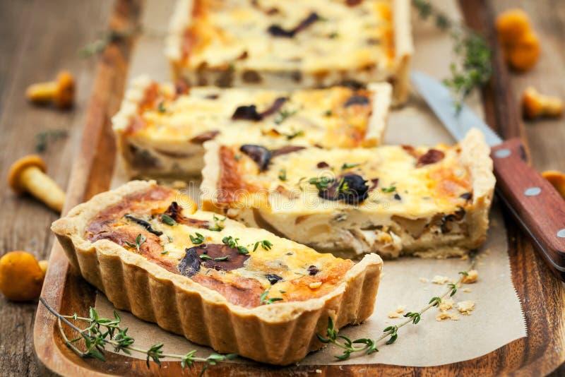 Cogumelo da prima, queijo e quiche do tomilho fotografia de stock royalty free