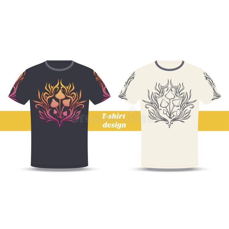 Cogumelo dois do sumário do projeto do Tshirt ilustração royalty free