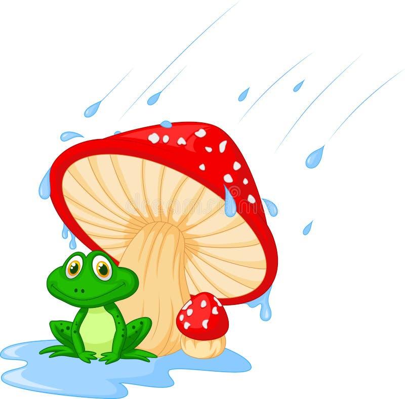 Cogumelo dos desenhos animados com um sapo ilustração do vetor