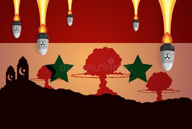 Cogumelo impetuoso da guerra da explosão nuclear em Síria ilustração do vetor