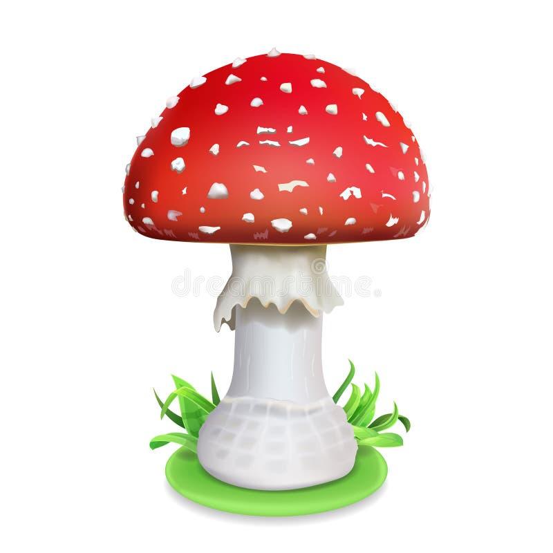Cogumelo vermelho do agaric de mosca Ilustração realística do ícone ilustração royalty free