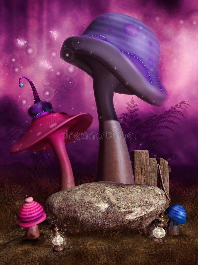 Cogumelos cor-de-rosa e roxos da fantasia ilustração royalty free