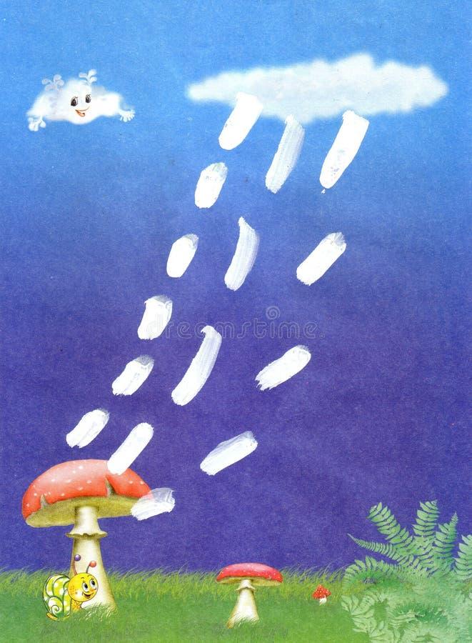 Cogumelos da aplicação das crianças, chuva, fantasma ilustração royalty free