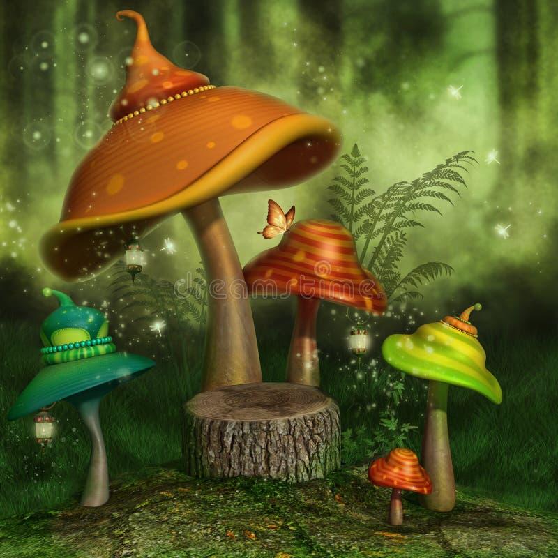Cogumelos da fantasia em uma floresta ilustração stock