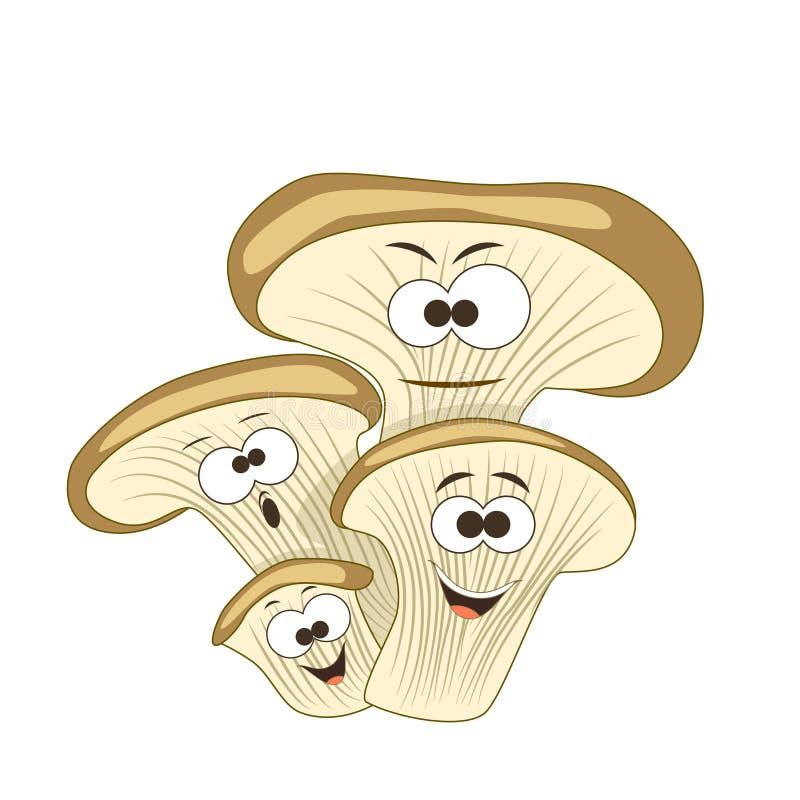 Cogumelos de ostra de sorriso dos desenhos animados bonitos Ilustração do vetor ilustração stock