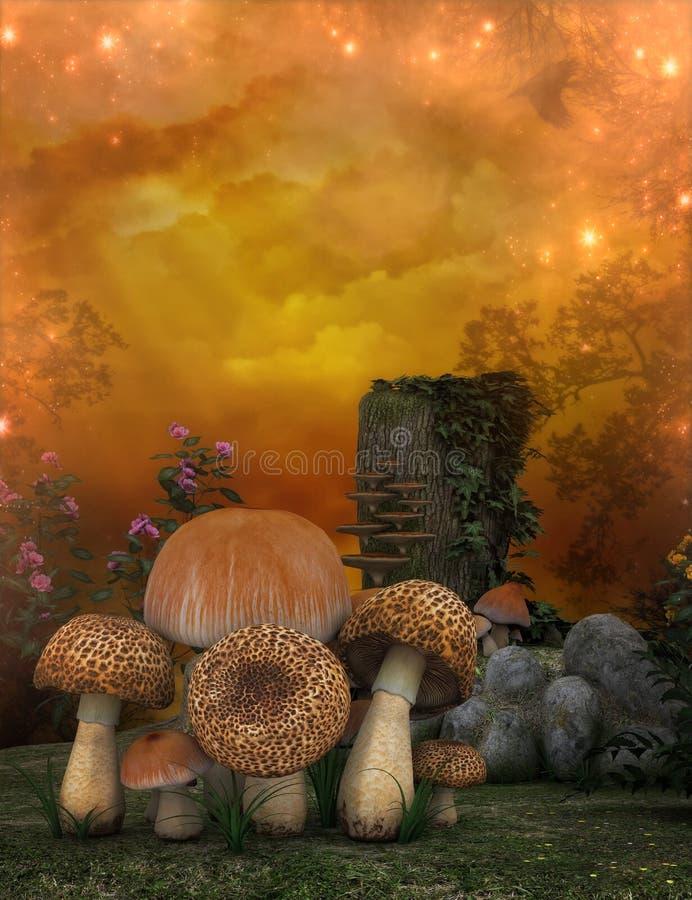 Cogumelos e coto de árvore ilustração do vetor