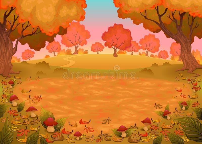 Cogumelos e samambaias na madeira ilustração stock