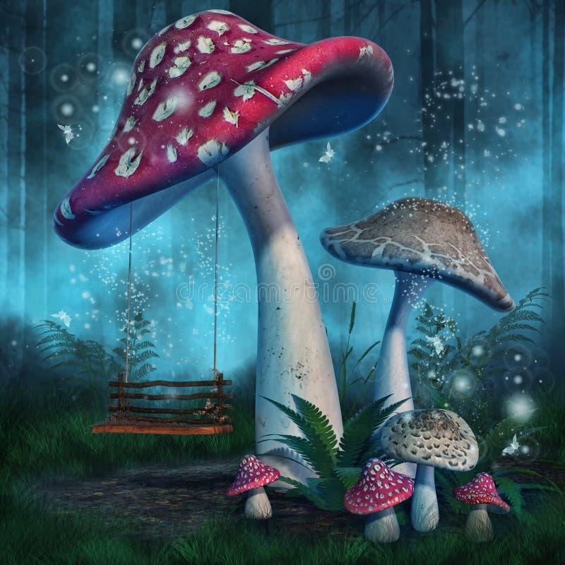 Cogumelos e um balanço ilustração do vetor