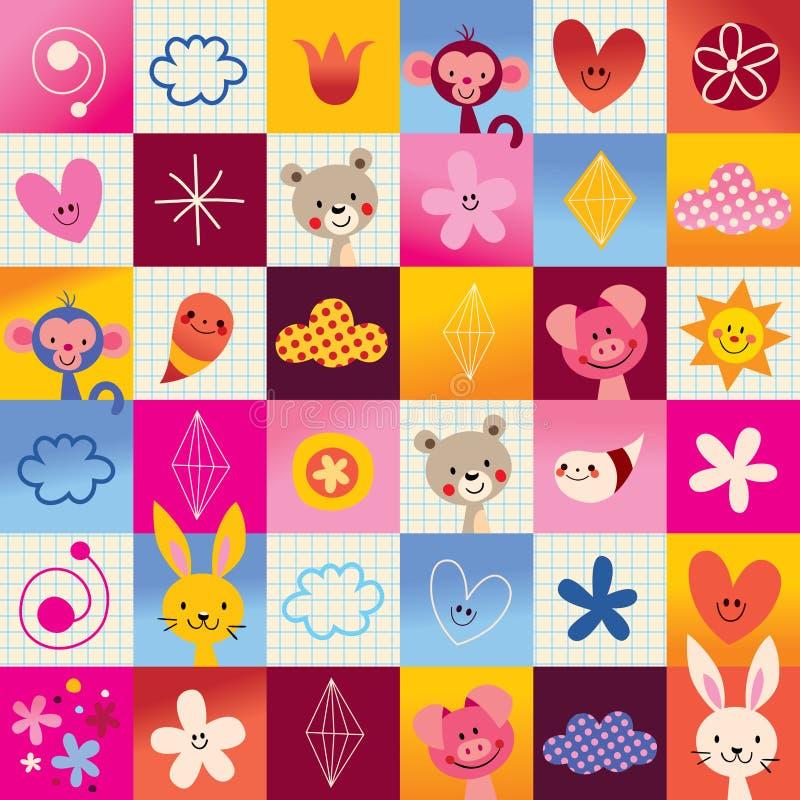 Cogumelos, flores, borboletas, corações, teste padrão da natureza dos caracóis ilustração royalty free
