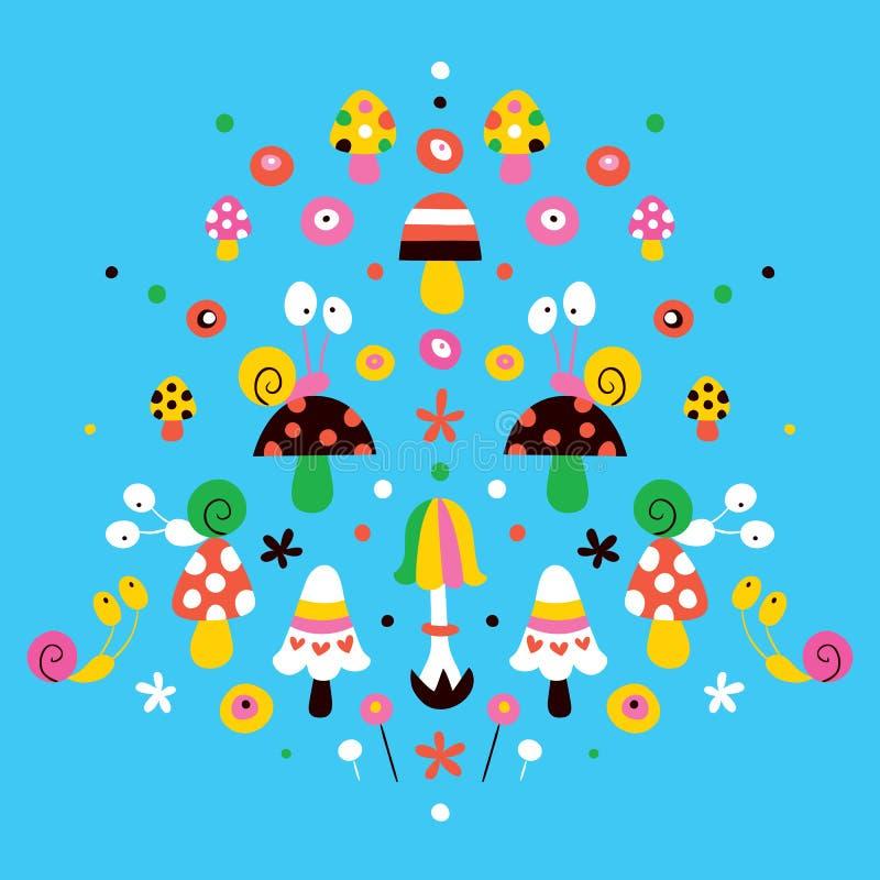 Cogumelos, flores & ilustração da natureza dos caracóis ilustração stock