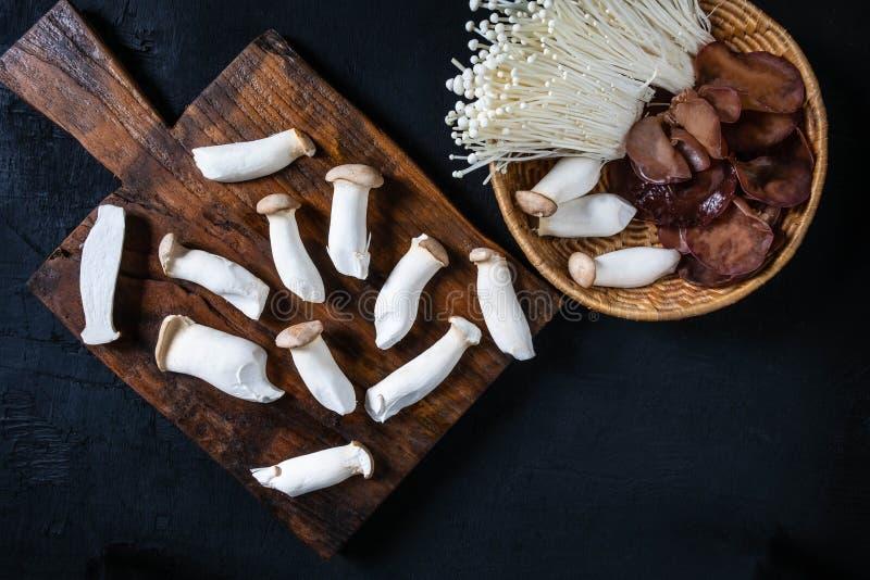 Cogumelos frescos na madeira fotos de stock