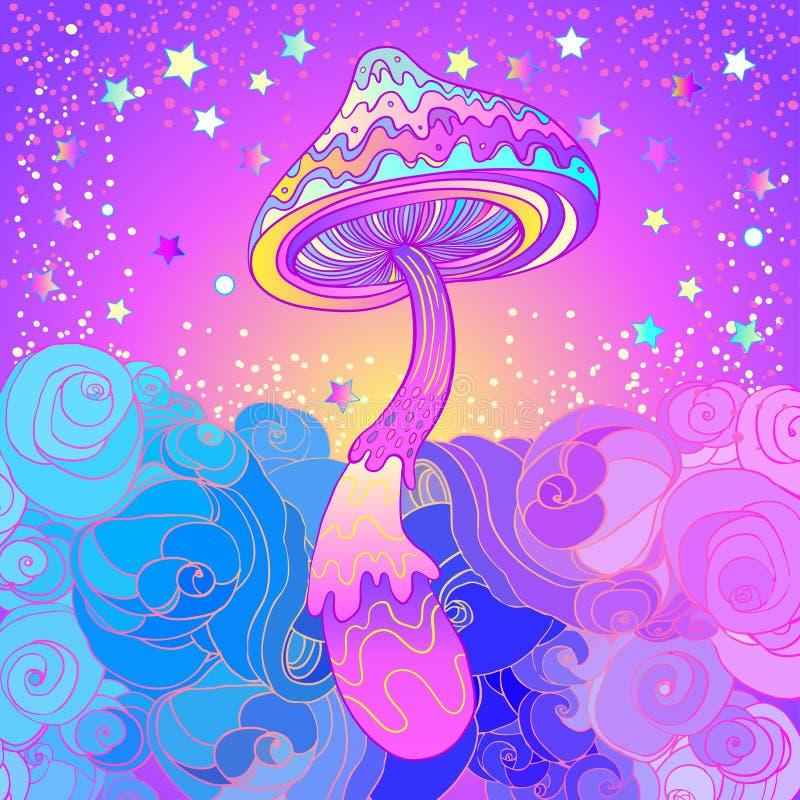 Cogumelos mágicos Alucinação psicadélico Illus vibrante do vetor ilustração do vetor
