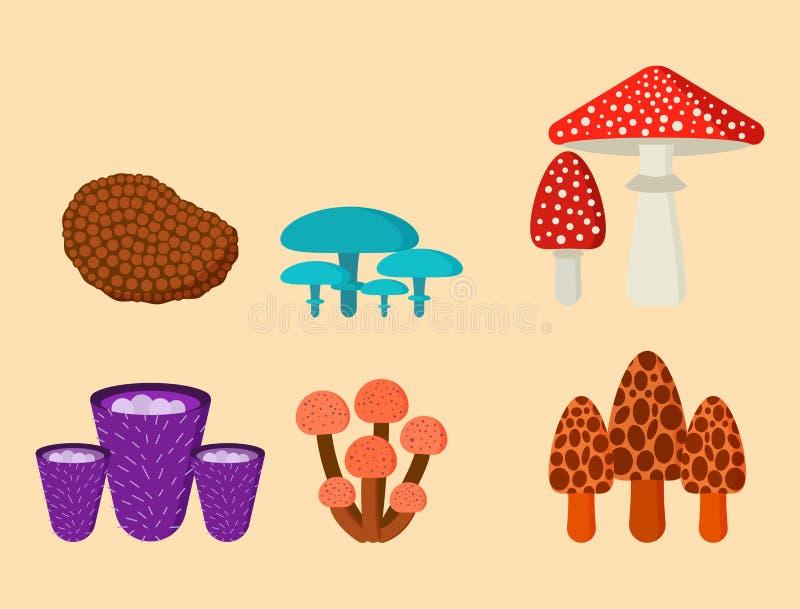 Cogumelos para o outono saudável do alimento do cozinheiro e do vegetariano venenoso da refeição da natureza comestível e cru veg ilustração royalty free