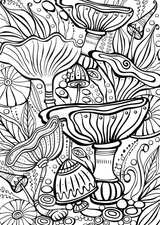 Cogumelos que colorem a página antistress do livro ilustração royalty free