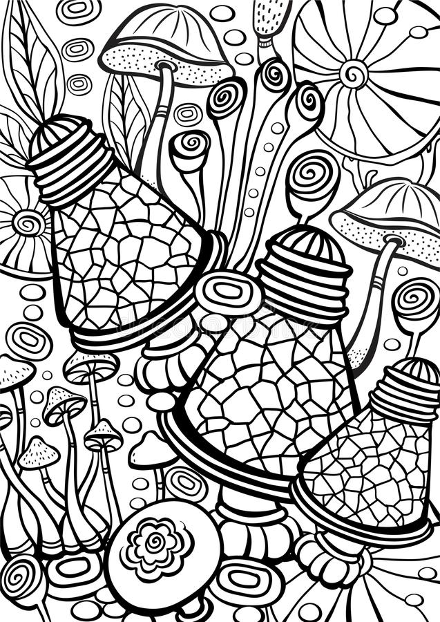 Cogumelos que colorem a página antistress do livro ilustração do vetor