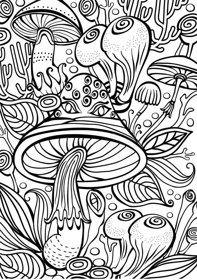 Cogumelos que colorem a página antistress do livro ilustração stock