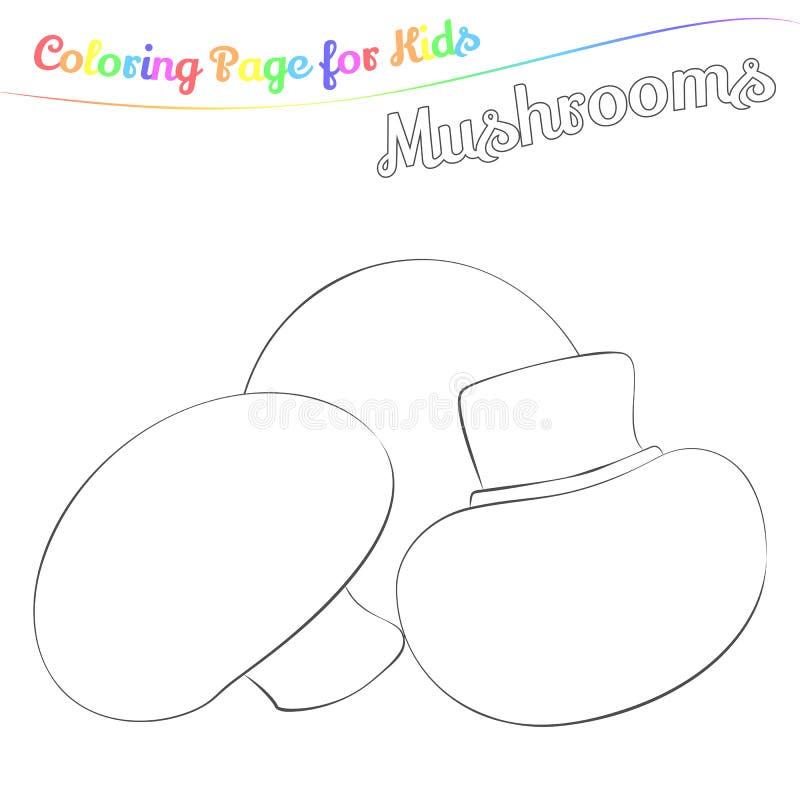Cogumelos saborosos para colorir no estilo dos desenhos animados do imple Página para o livro para colorir da arte para crianças  ilustração do vetor