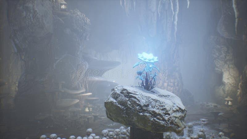 Cogumelos verdes fant?sticos e flor azul m?gica em uma caverna surpreendente Cogumelos m?gicos bonitos na caverna da fantasia e ilustração royalty free