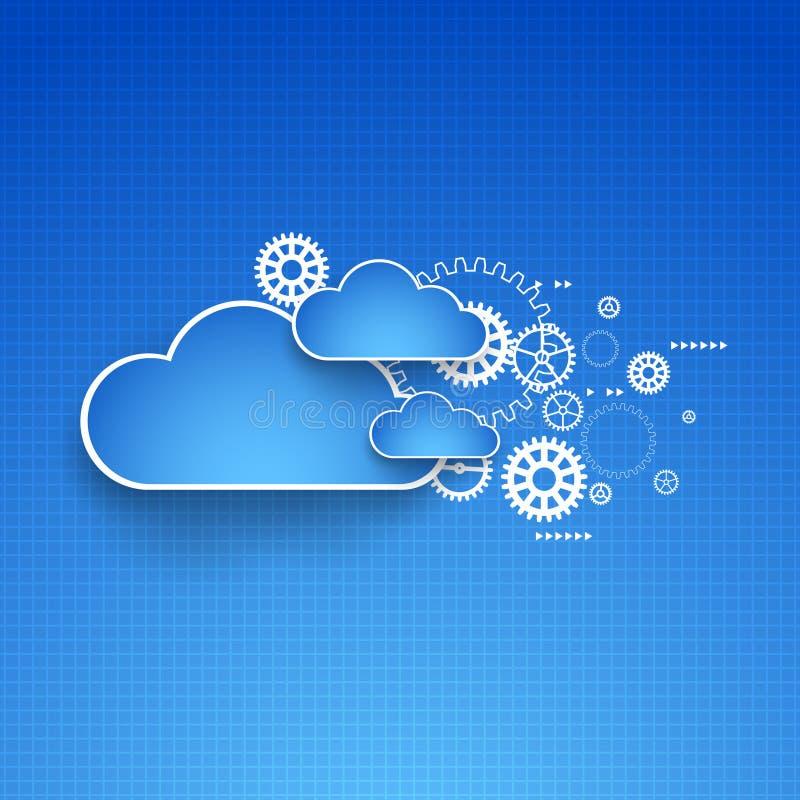 Cogwheel θέμα σύννεφων απεικόνιση αποθεμάτων