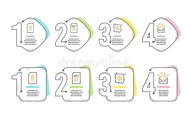 Cogwheel, Attachment and Delete file icons set. Love mail sign. Engineering, Attach document, Remove document. Vector. Cogwheel, Attachment and Delete file icons royalty free illustration