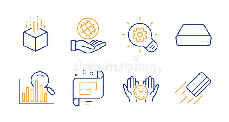 Cogwheel, Augmented reality and Safe time icons set. Safe planet, Architectural plan and Mini pc signs. Vector. Cogwheel, Augmented reality and Safe time line vector illustration