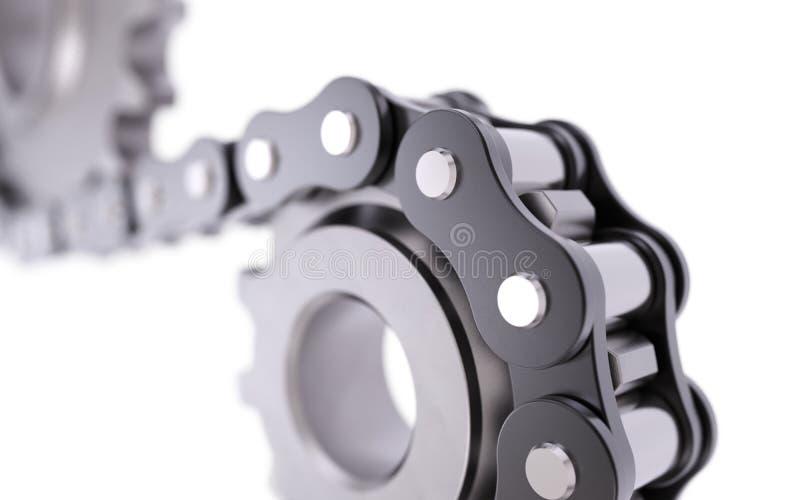 Cogwheel with chain stock photos