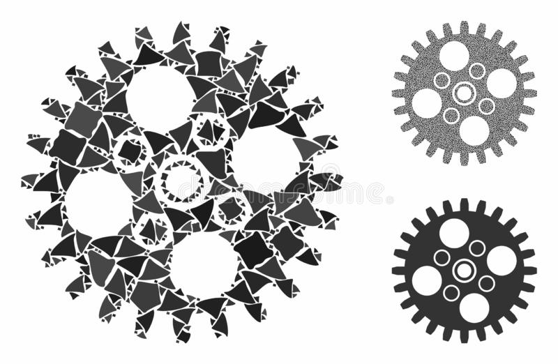 Cogwheel Composition Icon of Trembly Items. Cogwheel composition of abrupt pieces in variable sizes and shades, based on cogwheel icon. Vector ragged pieces are vector illustration