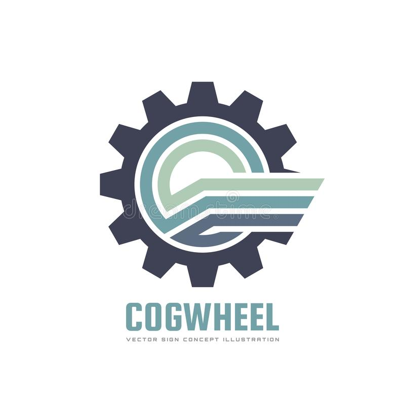 Cogwheel - concept business logo template vector illustration. Gear creative sign with abstract wing symbol. SEO icon. Mechanic machine insignia. Graphic vector illustration