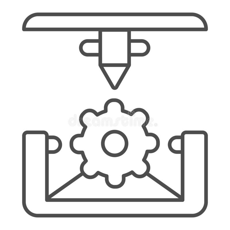 Cogwheel 3d printing thin line icon. 3d printing mechanics vector illustration isolated on white. Gear 3d print process royalty free illustration