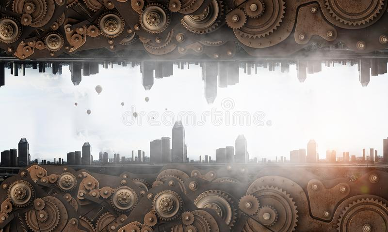 Metal gear mechanism. Cogwheel and gear mechanism and round cityscape stock photography