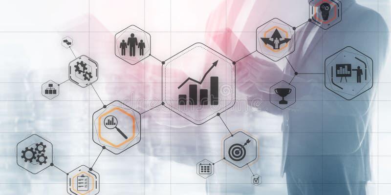 Cogwheel Gears abstrait de l'industrie de l'automatisation des technologies de l'entreprise 4 0 concept d'arrière-plan flou de la illustration libre de droits