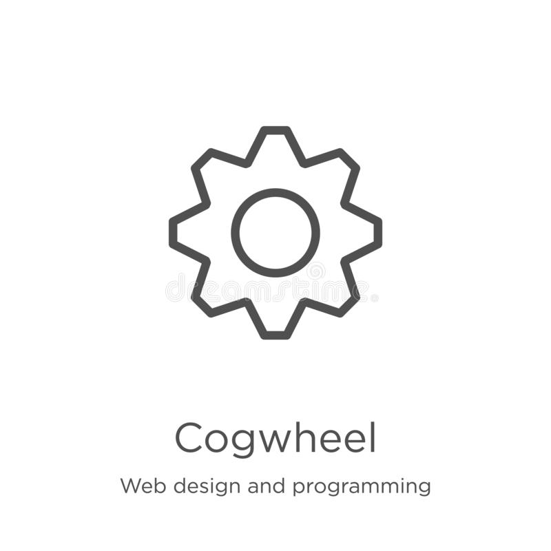 Cogwheel icon vector from web design and programming collection. Thin line cogwheel outline icon vector illustration. Outline,. Cogwheel icon. Element of web vector illustration