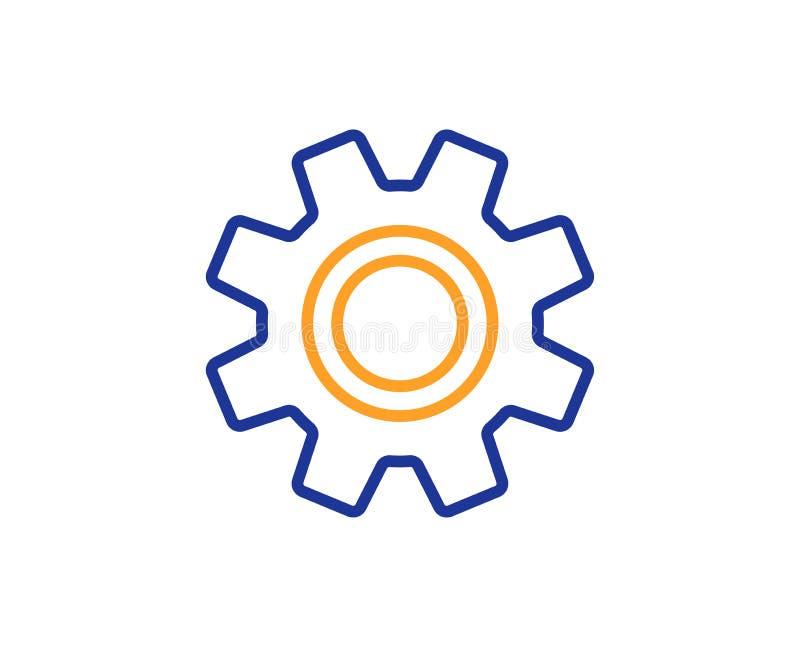 Cogwheel kreskowa ikona znak usługi wektor ilustracji